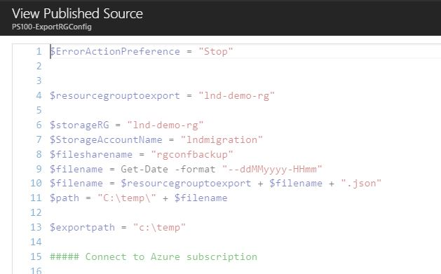 exporting azure resource manager templates with azure automation